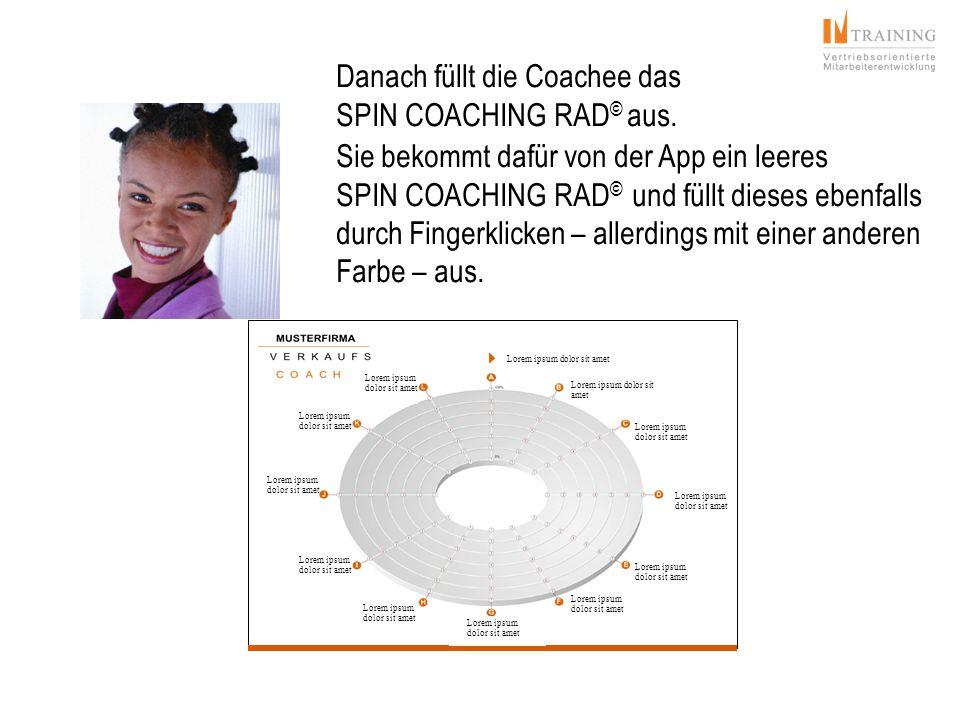 Danach füllt die Coachee das SPIN COACHING RAD © aus. Sie bekommt dafür von der App ein leeres SPIN COACHING RAD © und füllt dieses ebenfalls durch Fi