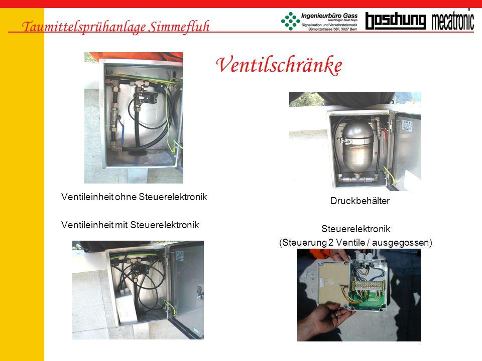 Taumittelsprühanlage Simmefluh -Speisungskarte -CPU Karte -Ventilansteuerkarte 1 × 64 Ventile -Basiskarte mit Klemmen -Transformator 80VA Steuerelektronik TMS und Starkstromschranck TMS -Ein/Aus-Schalter (Front) -Pumpenschalter manuell (Front) -FI-, Last-, Thermoschalter -Relais, Pumpenschütz -Klemmen, etc..