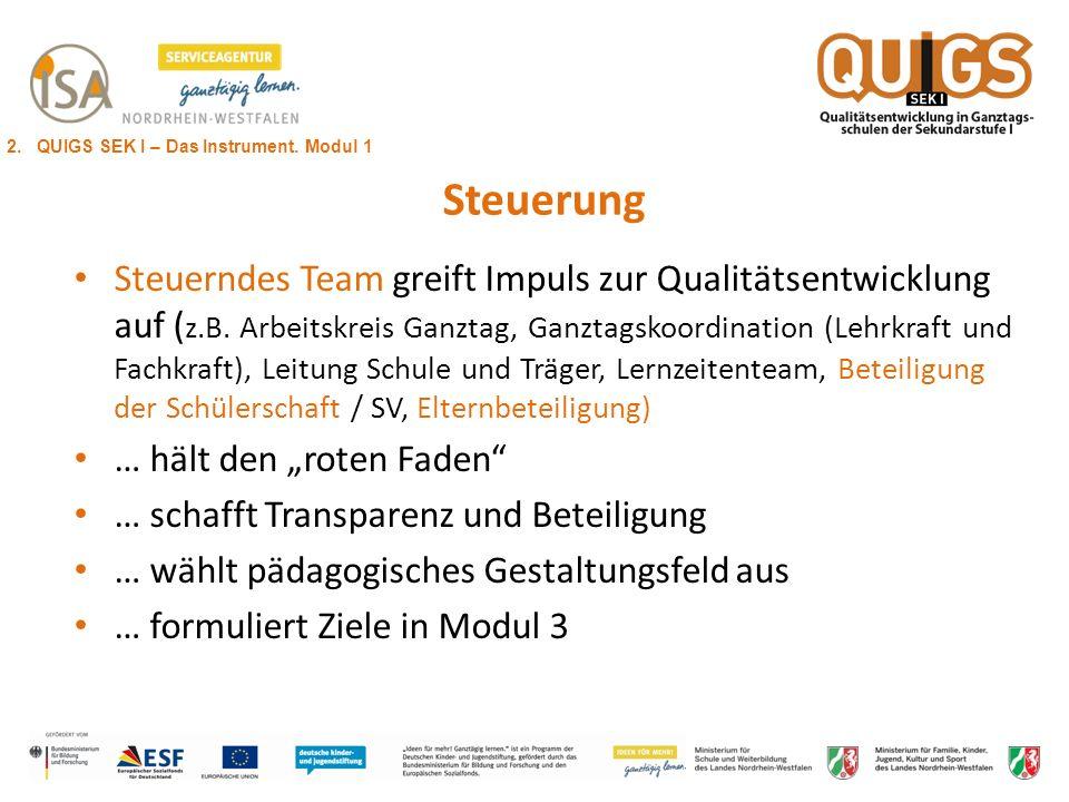 Steuerung Steuerndes Team greift Impuls zur Qualitätsentwicklung auf ( z.B. Arbeitskreis Ganztag, Ganztagskoordination (Lehrkraft und Fachkraft), Leit