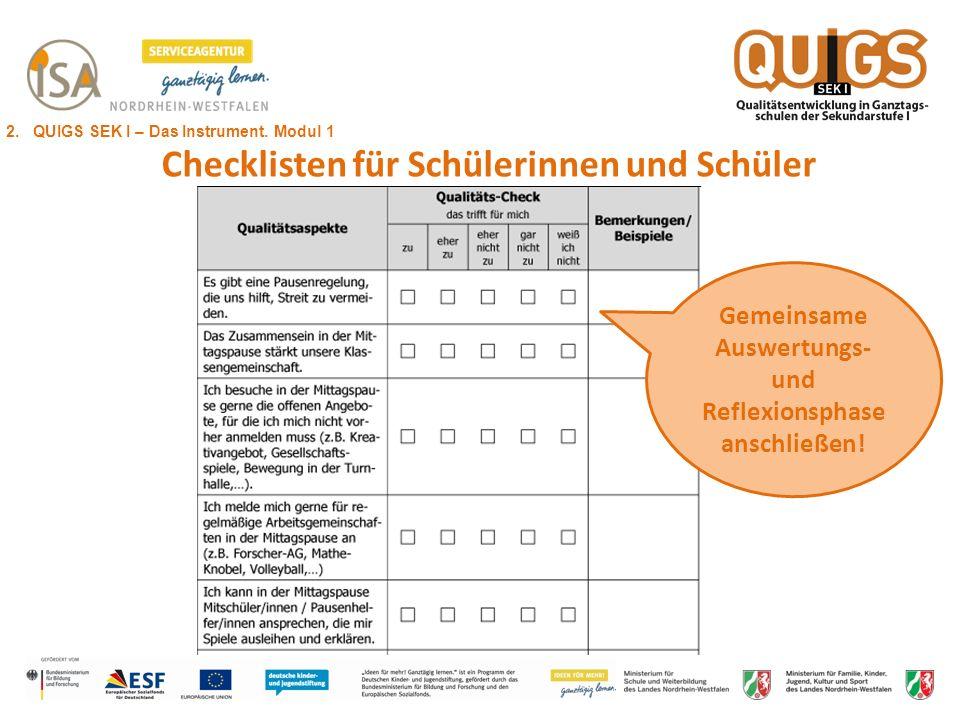Checklisten für Schülerinnen und Schüler Gemeinsame Auswertungs- und Reflexionsphase anschließen! 2. QUIGS SEK I – Das Instrument. Modul 1