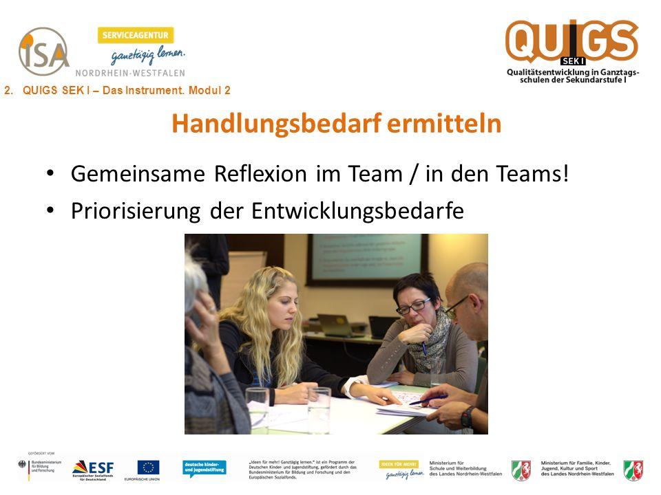 Handlungsbedarf ermitteln Gemeinsame Reflexion im Team / in den Teams! Priorisierung der Entwicklungsbedarfe 2. QUIGS SEK I – Das Instrument. Modul 2