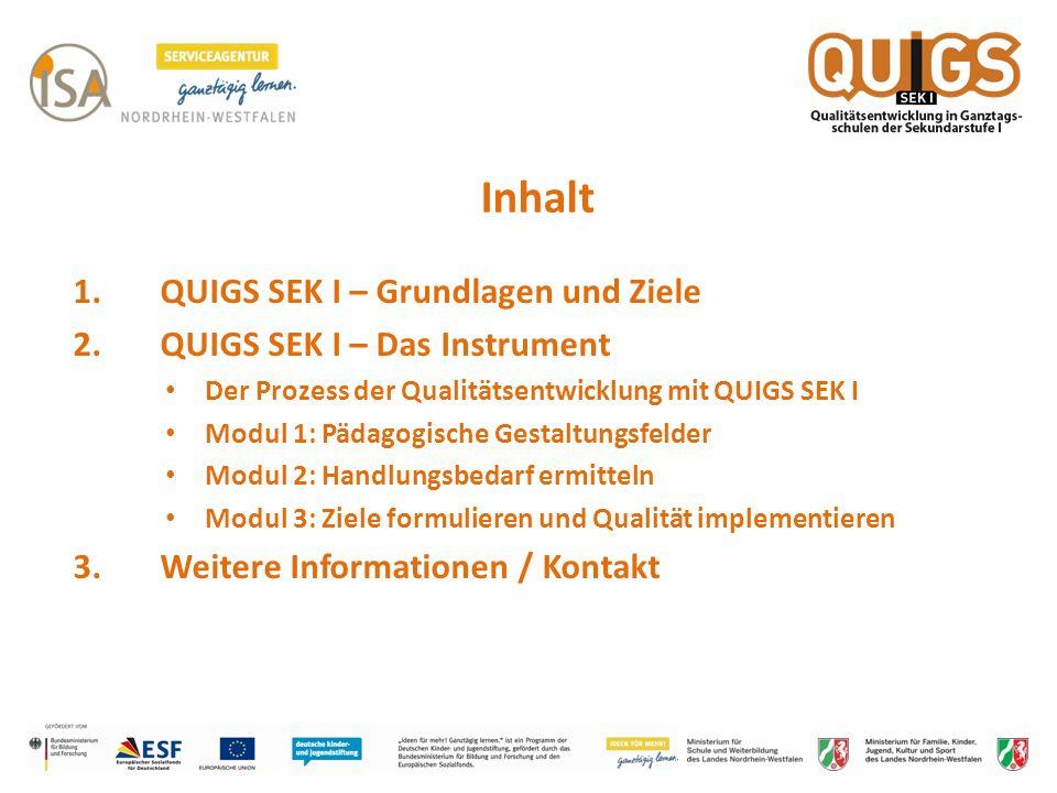 Inhalt 1. QUIGS SEK I – Grundlagen und Ziele 2. QUIGS SEK I – Das Instrument Der Prozess der Qualitätsentwicklung mit QUIGS SEK I Modul 1: Pädagogisch