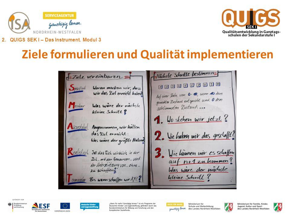 Ziele formulieren und Qualität implementieren 2. QUIGS SEK I – Das Instrument. Modul 3