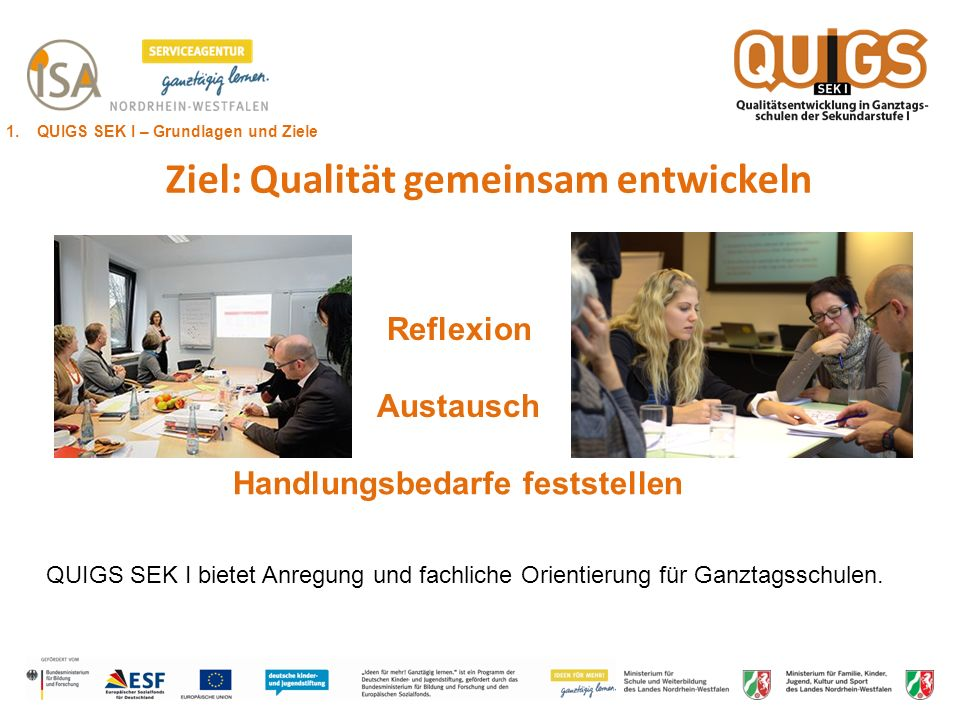 Ziel: Qualität gemeinsam entwickeln Handlungsbedarfe feststellen Reflexion Austausch QUIGS SEK I bietet Anregung und fachliche Orientierung für Ganzta