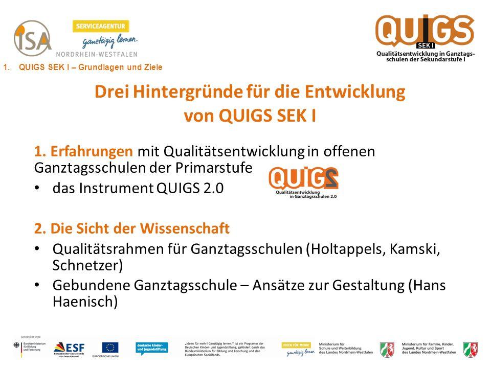 Drei Hintergründe für die Entwicklung von QUIGS SEK I 1. Erfahrungen mit Qualitätsentwicklung in offenen Ganztagsschulen der Primarstufe das Instrumen