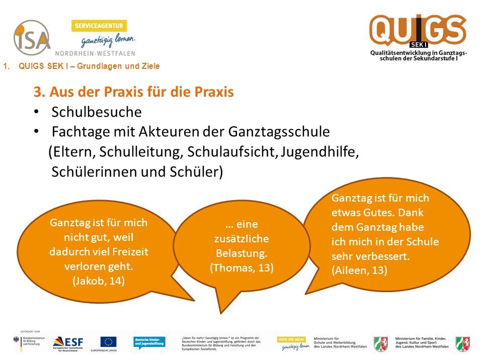 Drei pädagogische Gestaltungsfelder als zentrale Entwicklungsbereiche der Ganztagsschule 1.