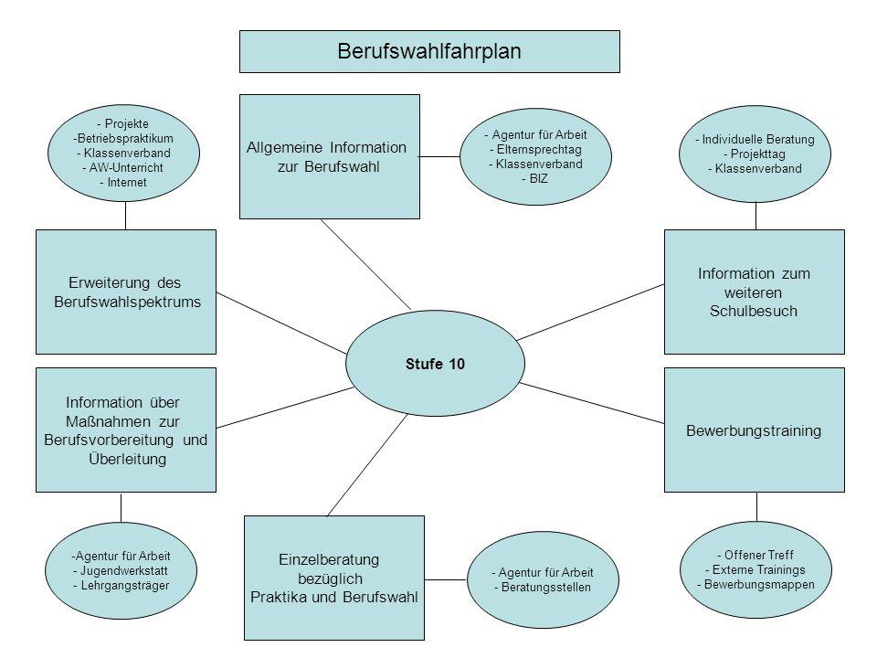 Stufe 10 Bewerbungstraining Allgemeine Information zur Berufswahl Erweiterung des Berufswahlspektrums Einzelberatung bezüglich Praktika und Berufswahl