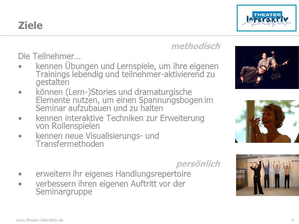 www.theater-interaktiv.de4 Ziele methodisch Die Teilnehmer… kennen Übungen und Lernspiele, um ihre eigenen Trainings lebendig und teilnehmer-aktiviere