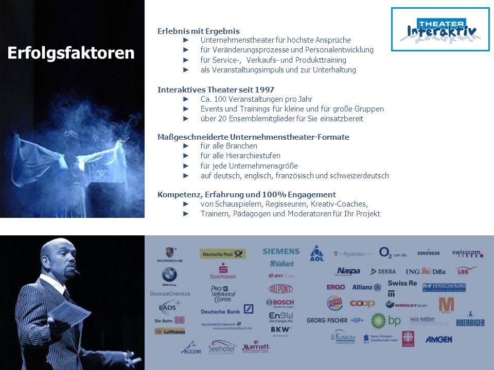 www.theater-interaktiv.de Erlebnis mit Ergebnis Unternehmenstheater für höchste Ansprüche für Veränderungsprozesse und Personalentwicklung für Service