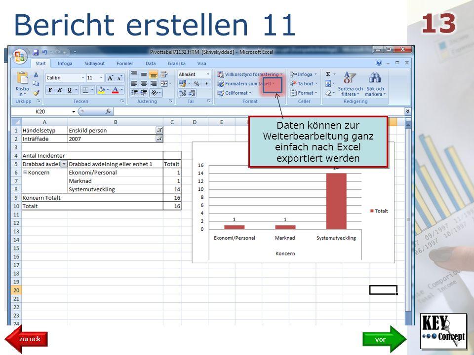Bericht erstellen 11 vor zurück Daten können zur Weiterbearbeitung ganz einfach nach Excel exportiert werden