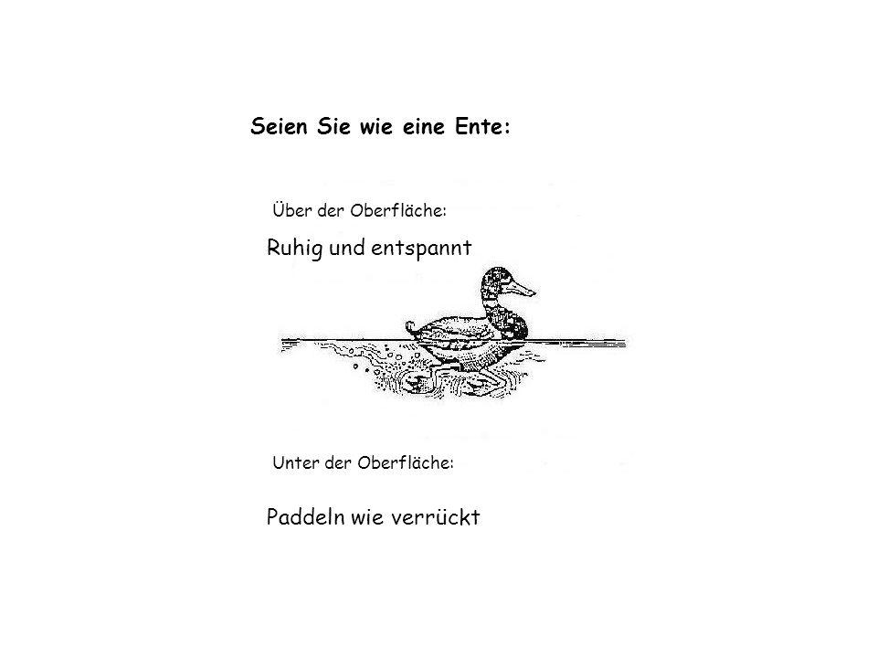 Seien Sie wie eine Ente: Über der Oberfläche: Ruhig und entspannt Unter der Oberfläche: Paddeln wie verrückt