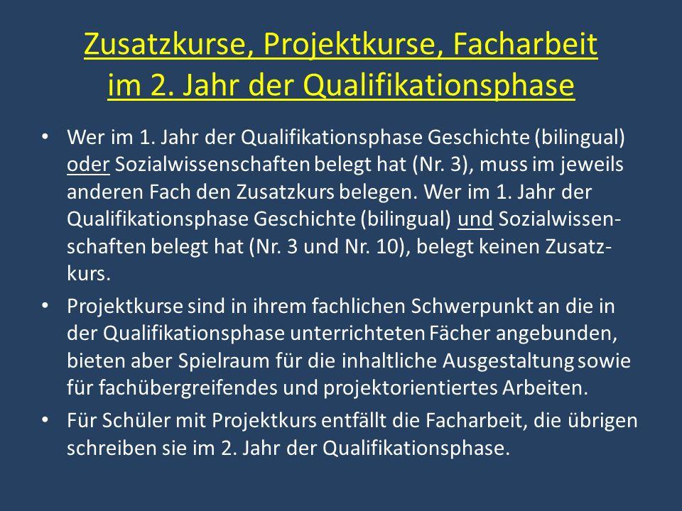 Zusatzkurse, Projektkurse, Facharbeit im 2. Jahr der Qualifikationsphase Wer im 1. Jahr der Qualifikationsphase Geschichte (bilingual) oder Sozialwiss
