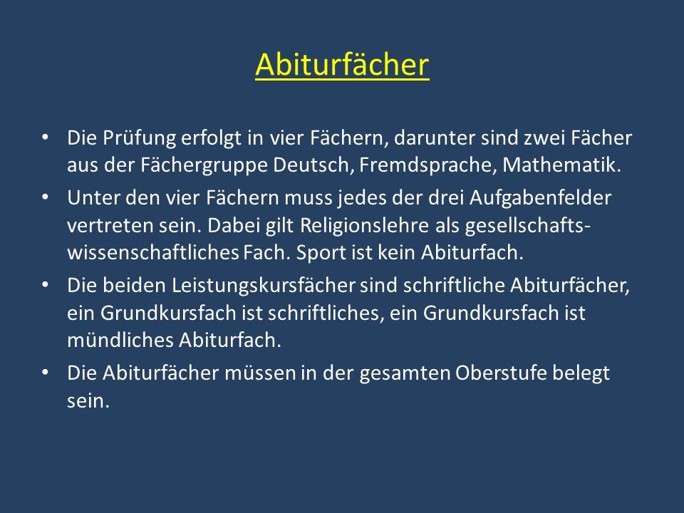 Abiturfächer Die Prüfung erfolgt in vier Fächern, darunter sind zwei Fächer aus der Fächergruppe Deutsch, Fremdsprache, Mathematik. Unter den vier Fäc