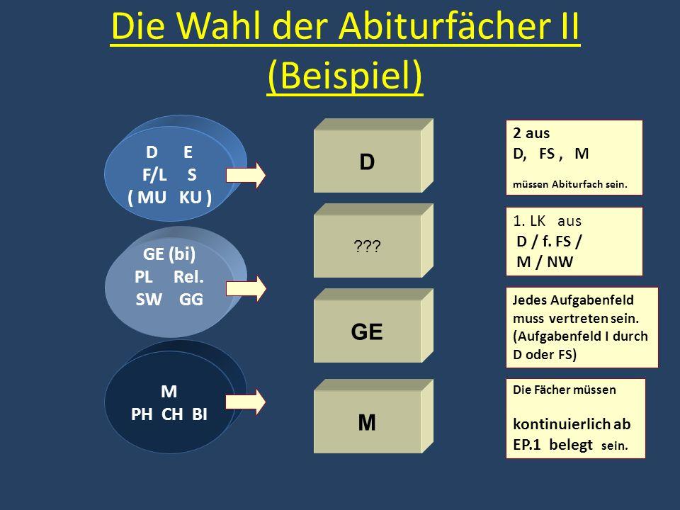 Die Wahl der Abiturfächer II (Beispiel) D ??? GE M Die Fächer müssen kontinuierlich ab EP.1 belegt sein. Jedes Aufgabenfeld muss vertreten sein. (Aufg