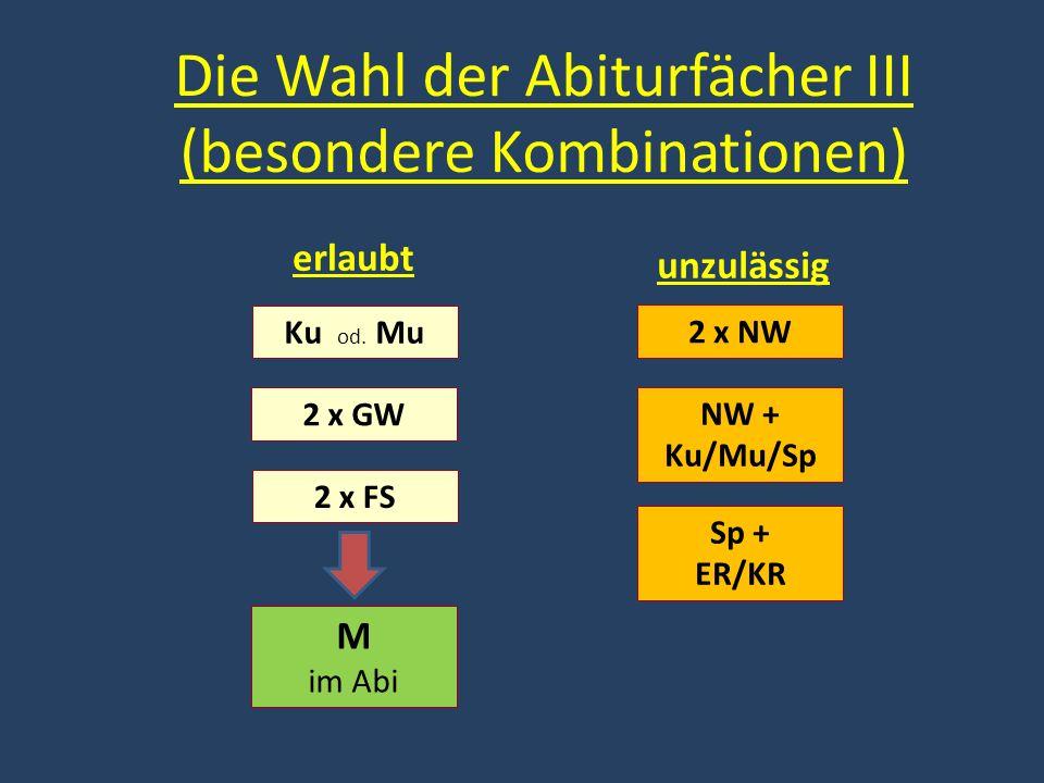 Die Wahl der Abiturfächer III (besondere Kombinationen) Ku od. Mu 2 x GW 2 x FS M im Abi 2 x NW NW + Ku/Mu/Sp Sp + ER/KR erlaubt unzulässig