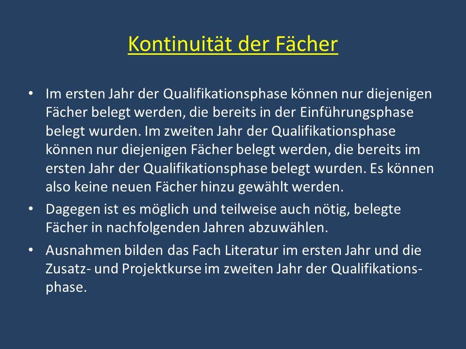 Kontinuität der Fächer Im ersten Jahr der Qualifikationsphase können nur diejenigen Fächer belegt werden, die bereits in der Einführungsphase belegt wurden.