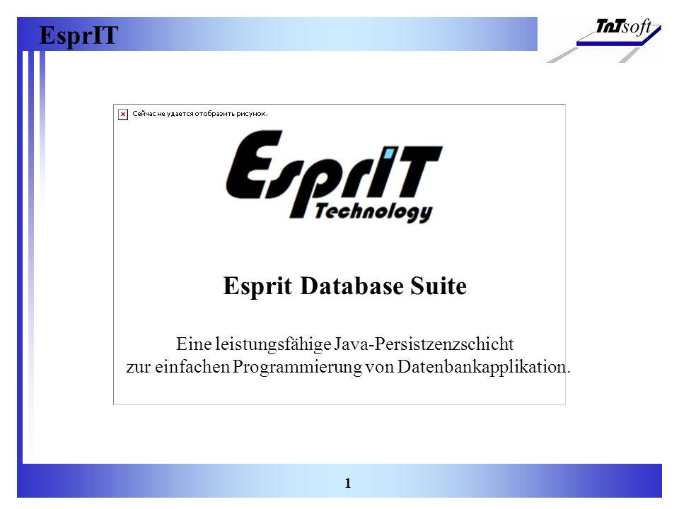 EsprIT 1 Esprit Database Suite Eine leistungsfähige Java-Persistzenzschicht zur einfachen Programmierung von Datenbankapplikation.