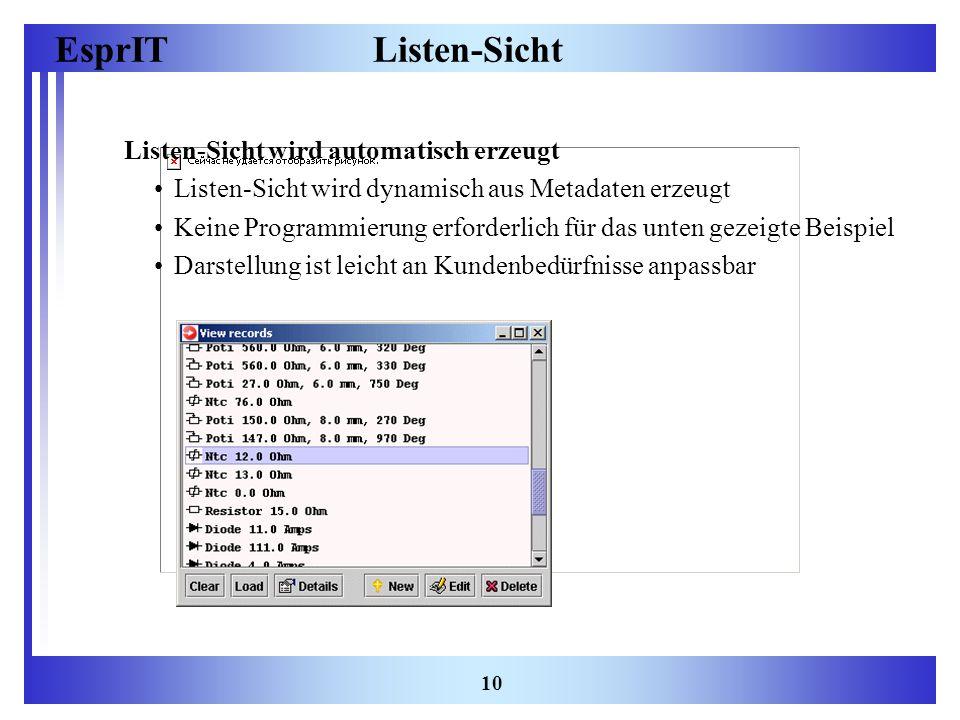 EsprIT 10 Listen-Sicht Listen-Sicht wird automatisch erzeugt Listen-Sicht wird dynamisch aus Metadaten erzeugt Keine Programmierung erforderlich für d