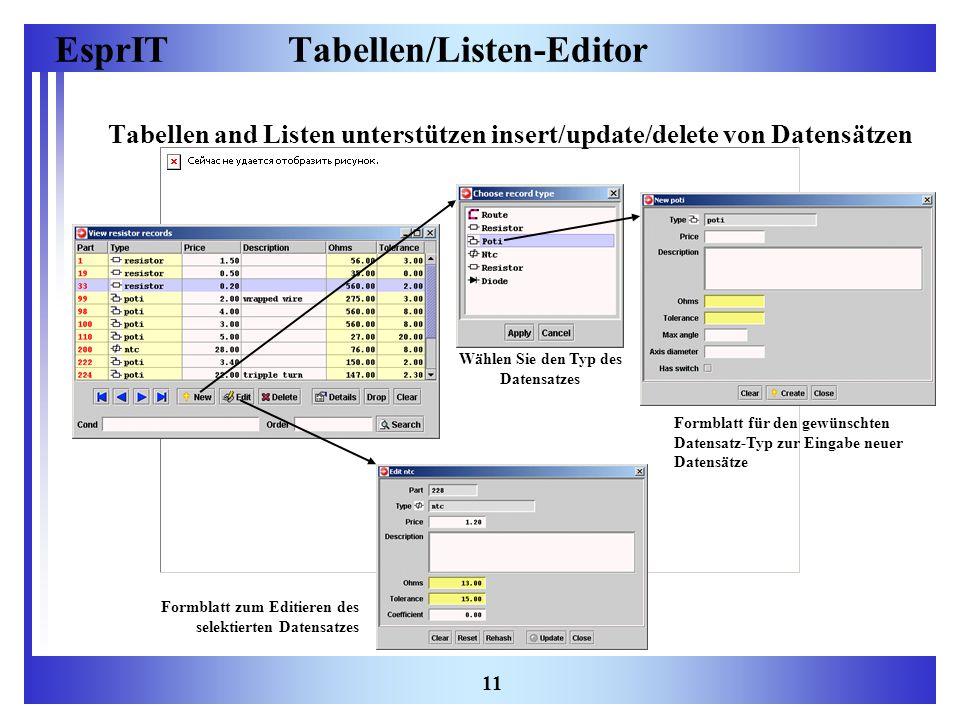 EsprIT 11 Tabellen/Listen-Editor Tabellen and Listen unterstützen insert/update/delete von Datensätzen Wählen Sie den Typ des Datensatzes Formblatt fü