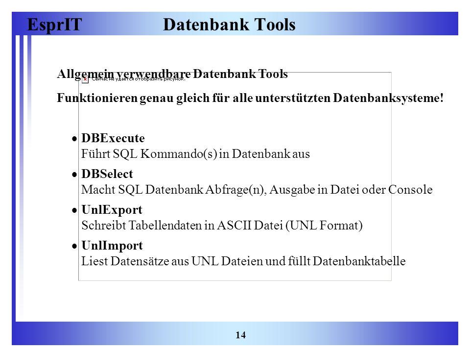 EsprIT 14 Datenbank Tools Allgemein verwendbare Datenbank Tools Funktionieren genau gleich für alle unterstützten Datenbanksysteme! DBExecute Führt SQ