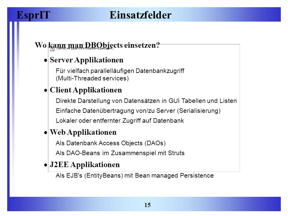 EsprIT 15 Einsatzfelder Wo kann man DBObjects einsetzen? Server Applikationen Für vielfach parallelläufigen Datenbankzugriff (Multi-Threaded services)