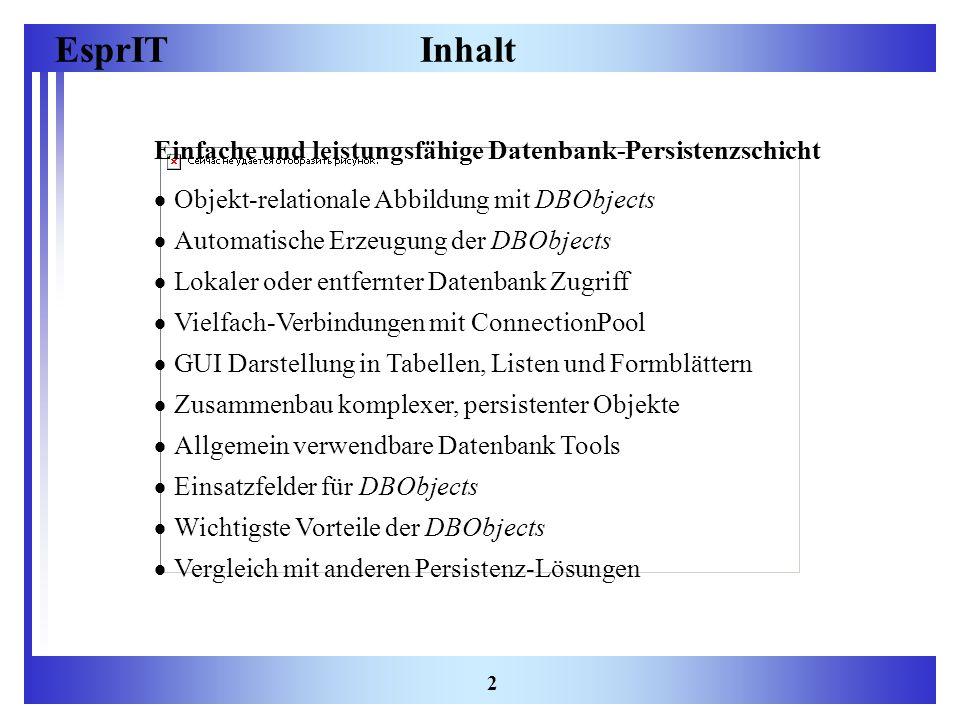 EsprIT 2 Inhalt Einfache und leistungsfähige Datenbank-Persistenzschicht Objekt-relationale Abbildung mit DBObjects Automatische Erzeugung der DBObjec