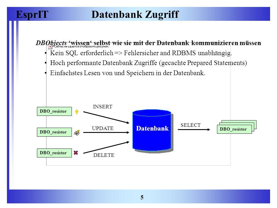 EsprIT 5 Datenbank Zugriff DBObjects wissen selbst wie sie mit der Datenbank kommunizieren müssen Kein SQL erforderlich => Fehlersicher and RDBMS unab