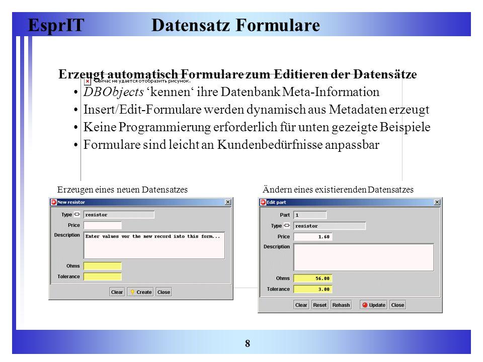 EsprIT 8 Datensatz Formulare Erzeugt automatisch Formulare zum Editieren der Datensätze DBObjects kennen ihre Datenbank Meta-Information Insert/Edit-F