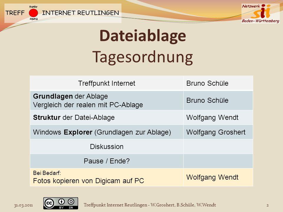 Dateiablage Tagesordnung Treffpunkt InternetBruno Schüle Grundlagen der Ablage Vergleich der realen mit PC-Ablage Bruno Schüle Struktur der Datei-Abla