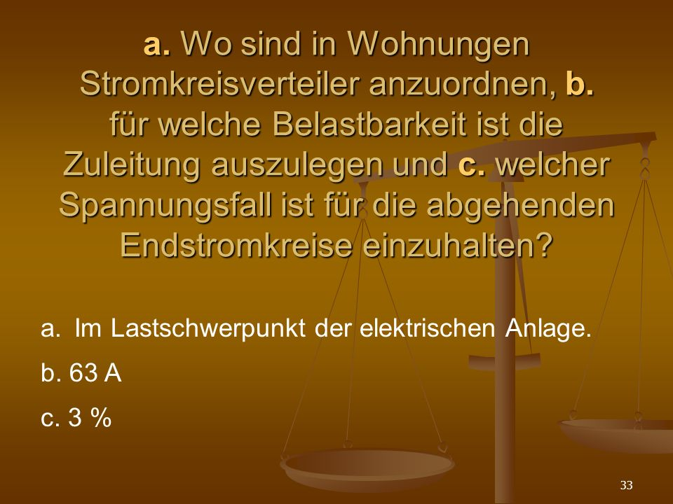 33 a.Wo sind in Wohnungen Stromkreisverteiler anzuordnen, b.