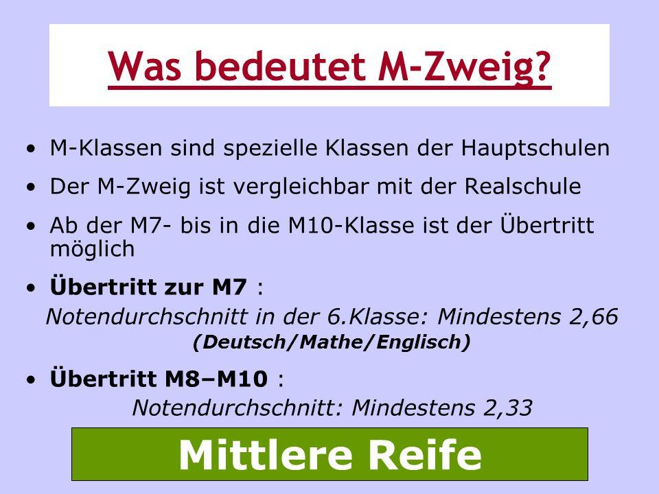 M-Klassen sind spezielle Klassen der Hauptschulen Der M-Zweig ist vergleichbar mit der Realschule Ab der M7- bis in die M10-Klasse ist der Übertritt m
