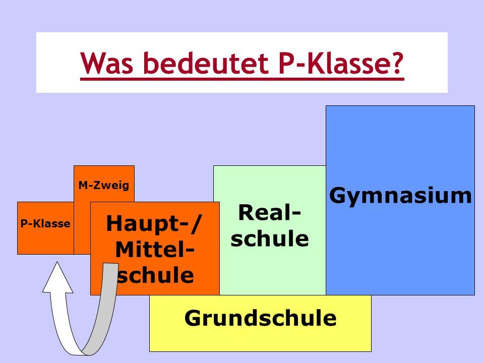 Grundschule Real- schule Gymnasium M-Zweig P-Klasse Haupt-/ Mittel- schule Was bedeutet P-Klasse?