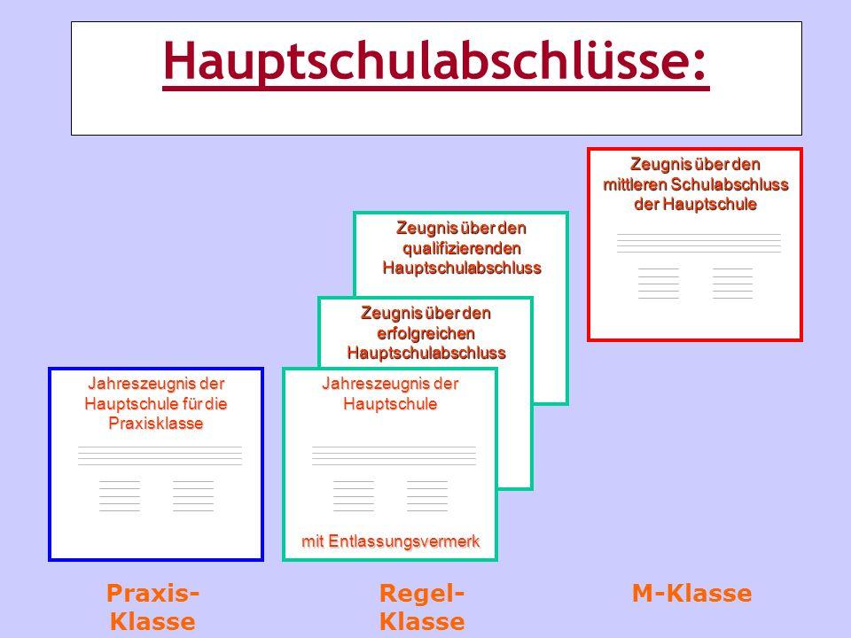 Jahreszeugnis der Hauptschule für die Praxisklasse Zeugnis über den qualifizierenden Hauptschulabschluss Zeugnis über den erfolgreichen Hauptschulabsc