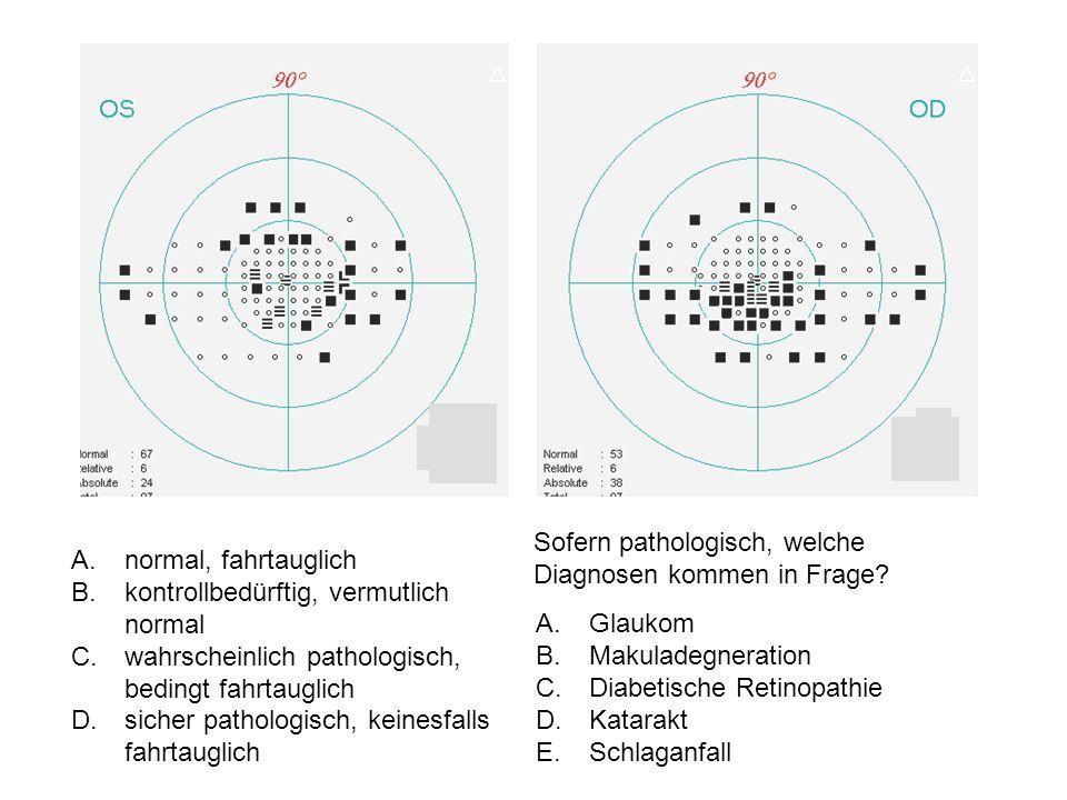 A.normal, fahrtauglich B.kontrollbedürftig, vermutlich normal C.wahrscheinlich pathologisch, bedingt fahrtauglich D.sicher pathologisch, keinesfalls fahrtauglich Sofern pathologisch, welche Diagnosen kommen in Frage.