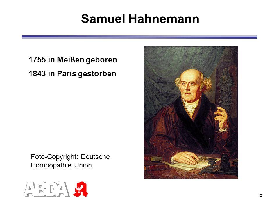 6 Begründer der Homöopathie Samuel Hahnemann (1755-1843) 1755 in Meißen geboren Medizinstudium 1779 Doktortitel, Universität Erlangen 1790 Selbstversuch mit Chinarindenpulver 1796 Ähnliches wird durch Ähnliches geheilt 1810 Veröffentlichung der ersten Auflag des Organon der rationellen Heilkunde 1843 in Paris im Alter von 88 Jahren verstorben