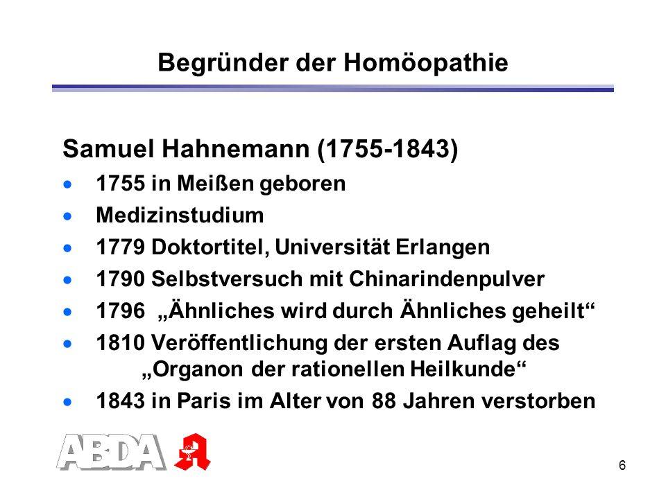 6 Begründer der Homöopathie Samuel Hahnemann (1755-1843) 1755 in Meißen geboren Medizinstudium 1779 Doktortitel, Universität Erlangen 1790 Selbstversu