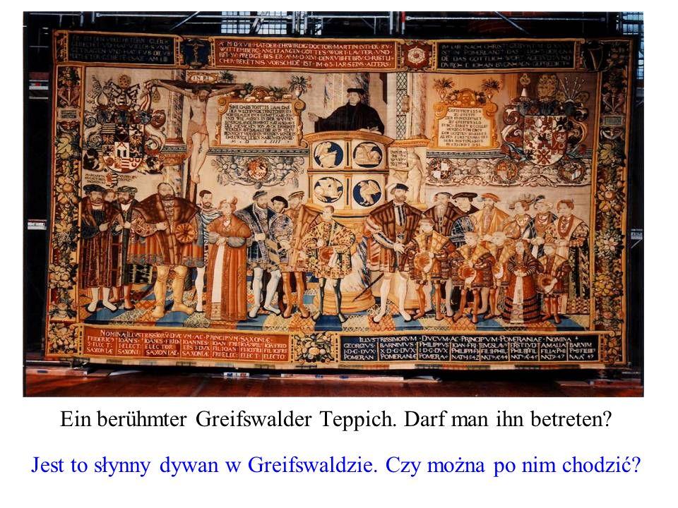 Ein berühmter Greifswalder Teppich. Darf man ihn betreten? Jest to słynny dywan w Greifswaldzie. Czy można po nim chodzić?