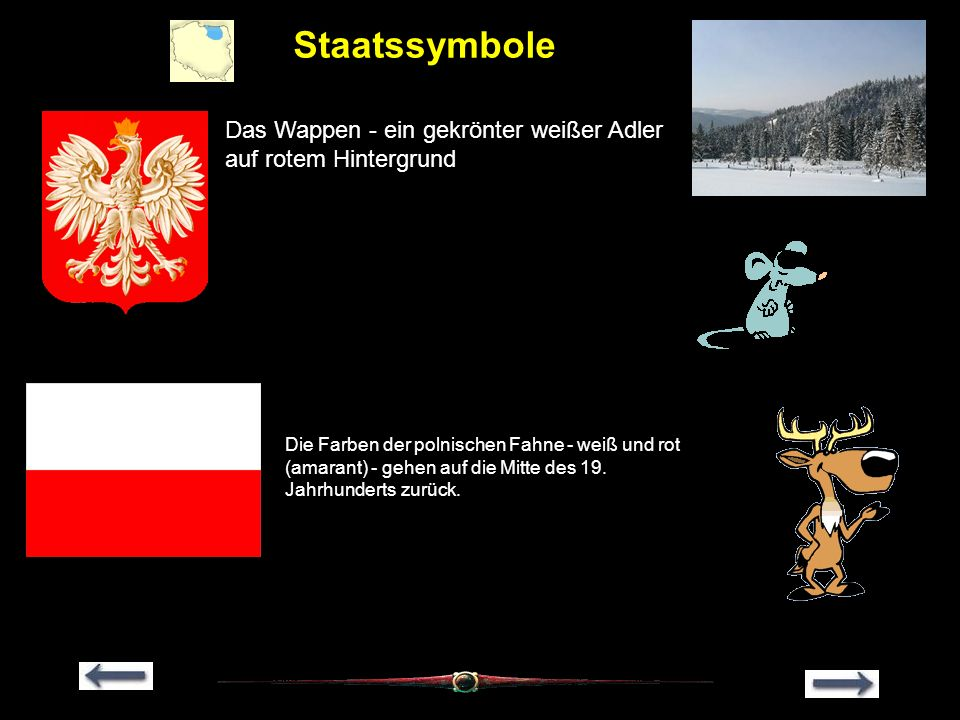 Staatssymbole Das Wappen - ein gekrönter weißer Adler auf rotem Hintergrund Die Farben der polnischen Fahne - weiß und rot (amarant) - gehen auf die M