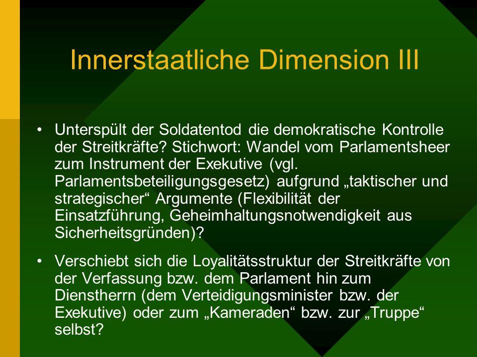 Innerstaatliche Dimension III Unterspült der Soldatentod die demokratische Kontrolle der Streitkräfte? Stichwort: Wandel vom Parlamentsheer zum Instru
