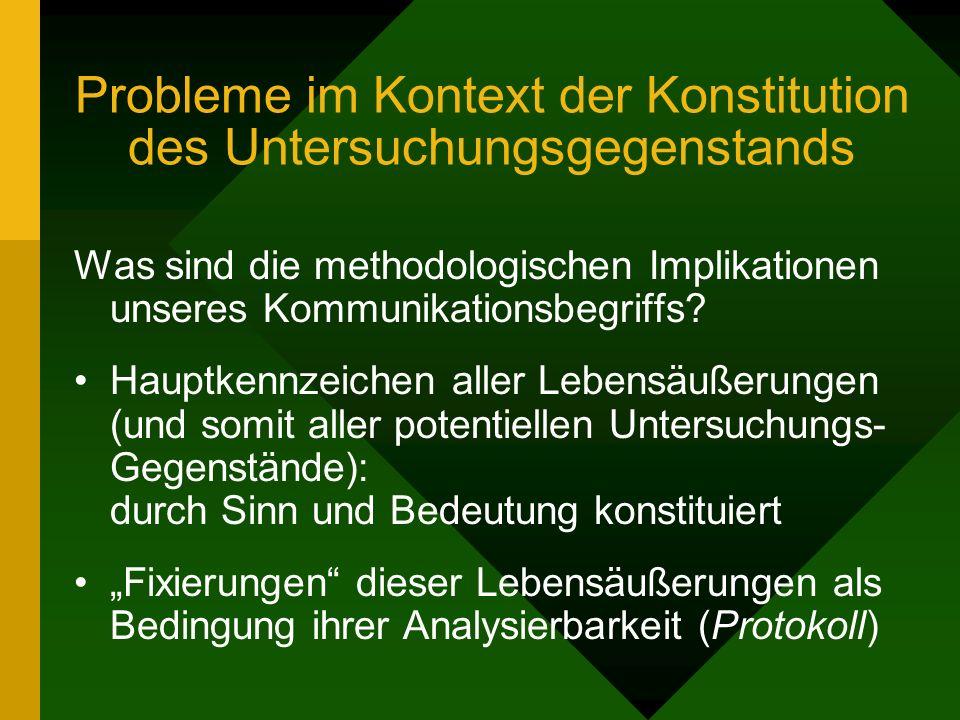 Probleme im Kontext der Konstitution des Untersuchungsgegenstands Was sind die methodologischen Implikationen unseres Kommunikationsbegriffs? Hauptken