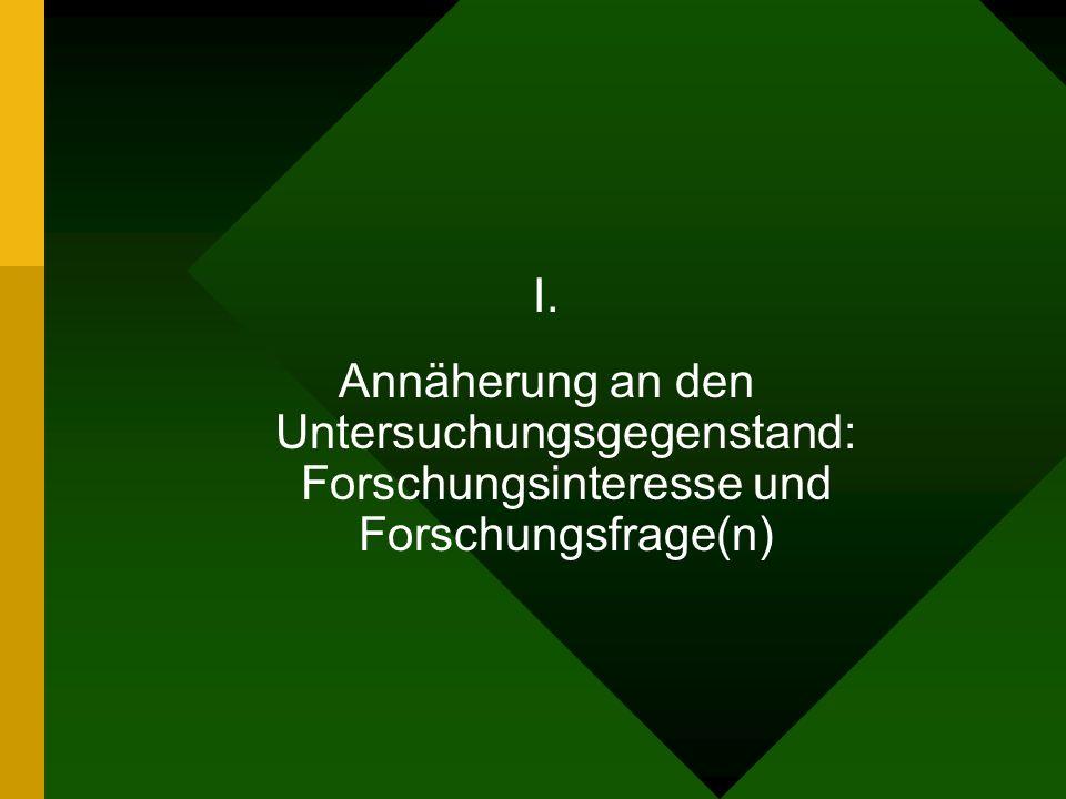 I. Annäherung an den Untersuchungsgegenstand: Forschungsinteresse und Forschungsfrage(n)