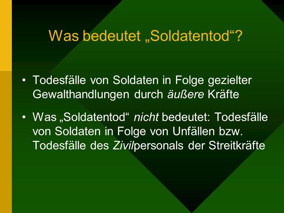 Was bedeutet Soldatentod? Todesfälle von Soldaten in Folge gezielter Gewalthandlungen durch äußere Kräfte Was Soldatentod nicht bedeutet: Todesfälle v