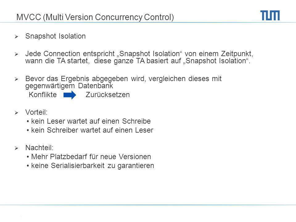 MVCC (Multi Version Concurrency Control) Snapshot Isolation Jede Connection entspricht Snapshot Isolation von einem Zeitpunkt, wann die TA startet, di