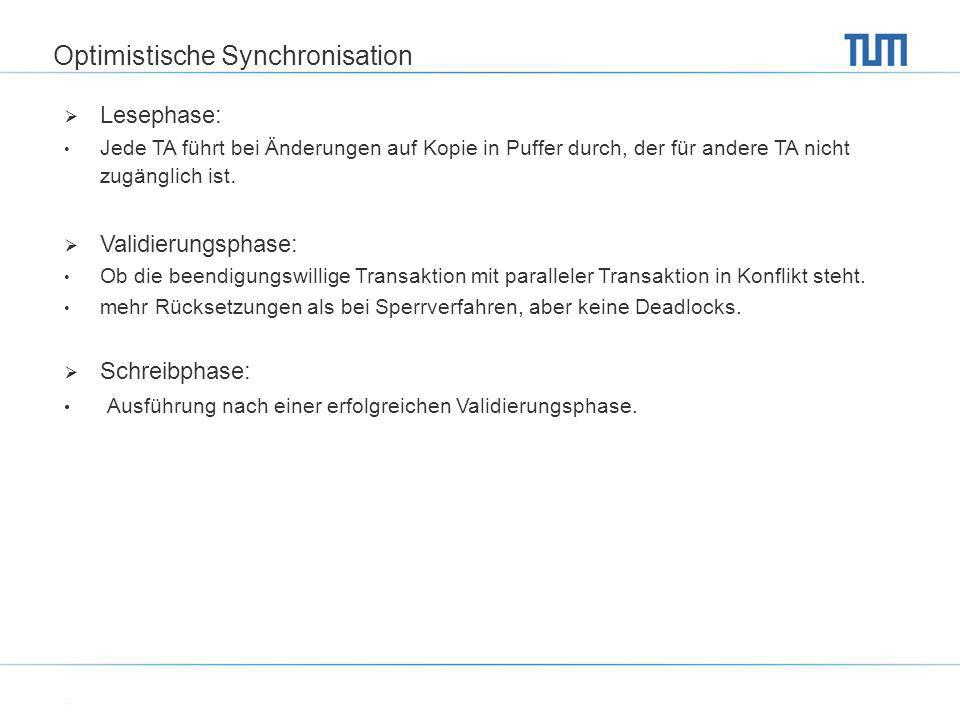 Optimistische Synchronisation Lesephase: Jede TA führt bei Änderungen auf Kopie in Puffer durch, der für andere TA nicht zugänglich ist. Validierungsp