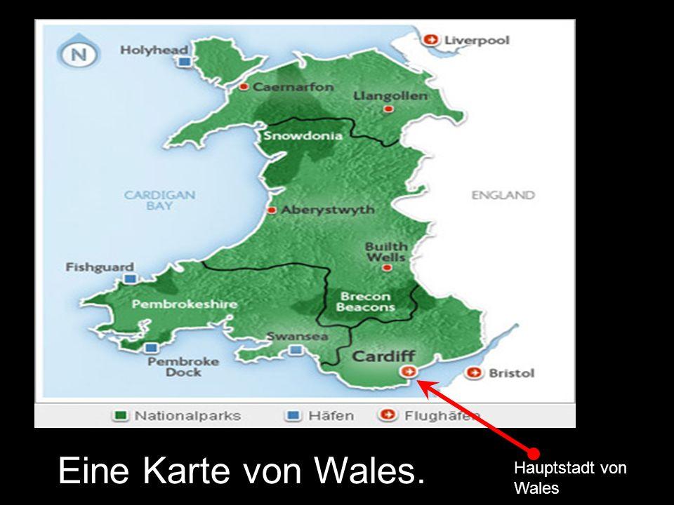 Eine Karte von Wales. Hauptstadt von Wales