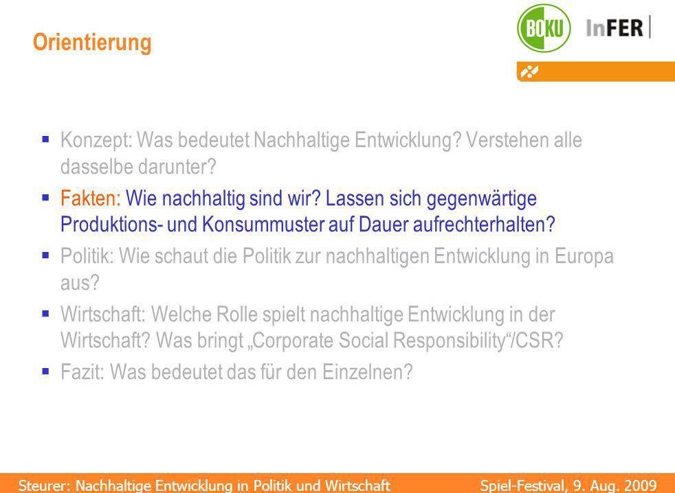 Steurer: Nachhaltige Entwicklung in Politik und WirtschaftSpiel-Festival, 9.