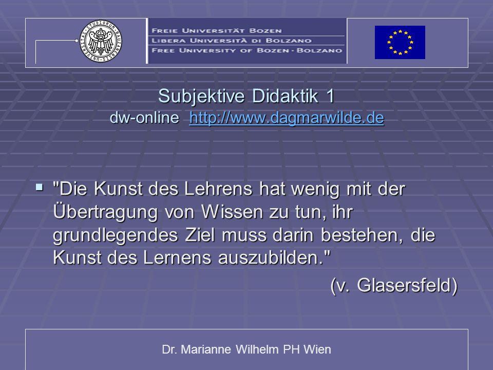 Dr. Marianne Wilhelm PH Wien Subjektive Didaktik 1 dw-online http://www.dagmarwilde.de http://www.dagmarwilde.de