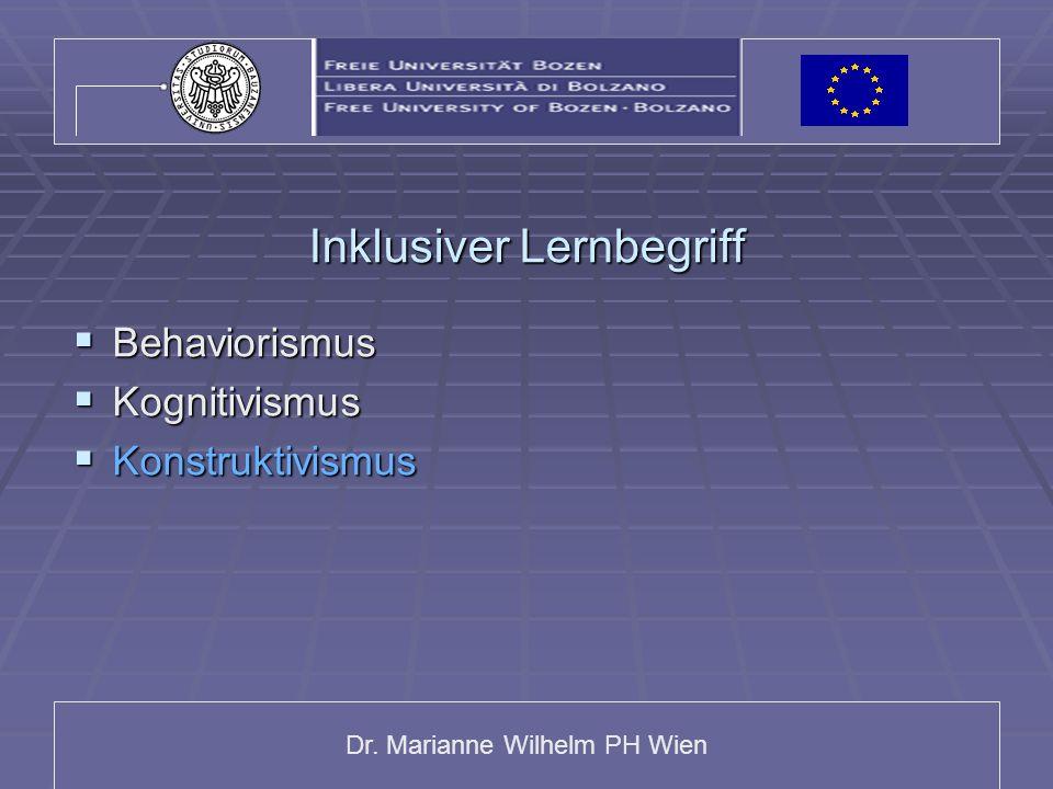 Dr. Marianne Wilhelm PH Wien Inklusiver Lernbegriff Behaviorismus Behaviorismus Kognitivismus Kognitivismus Konstruktivismus Konstruktivismus