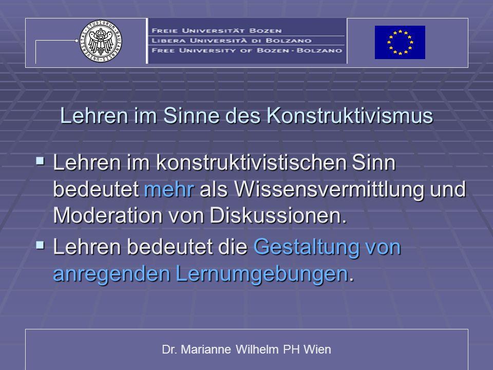 Dr. Marianne Wilhelm PH Wien Lehren im Sinne des Konstruktivismus Lehren im konstruktivistischen Sinn bedeutet mehr als Wissensvermittlung und Moderat
