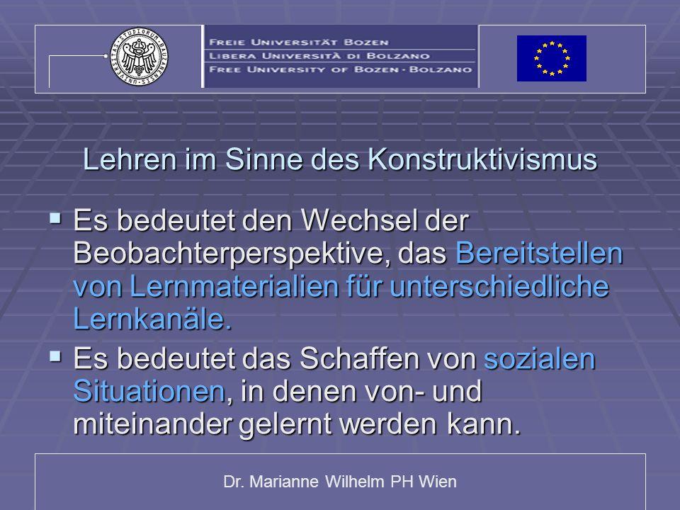 Dr. Marianne Wilhelm PH Wien Lehren im Sinne des Konstruktivismus Es bedeutet den Wechsel der Beobachterperspektive, das Bereitstellen von Lernmateria